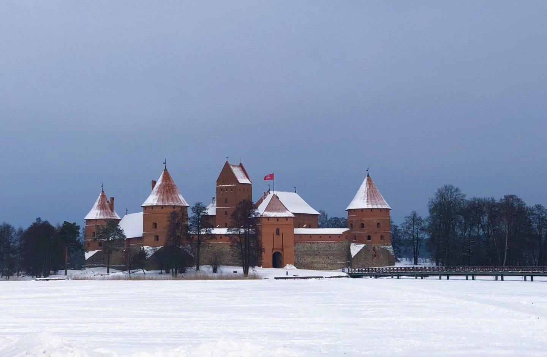 Trakai Castle in the snow in Eastern Europe