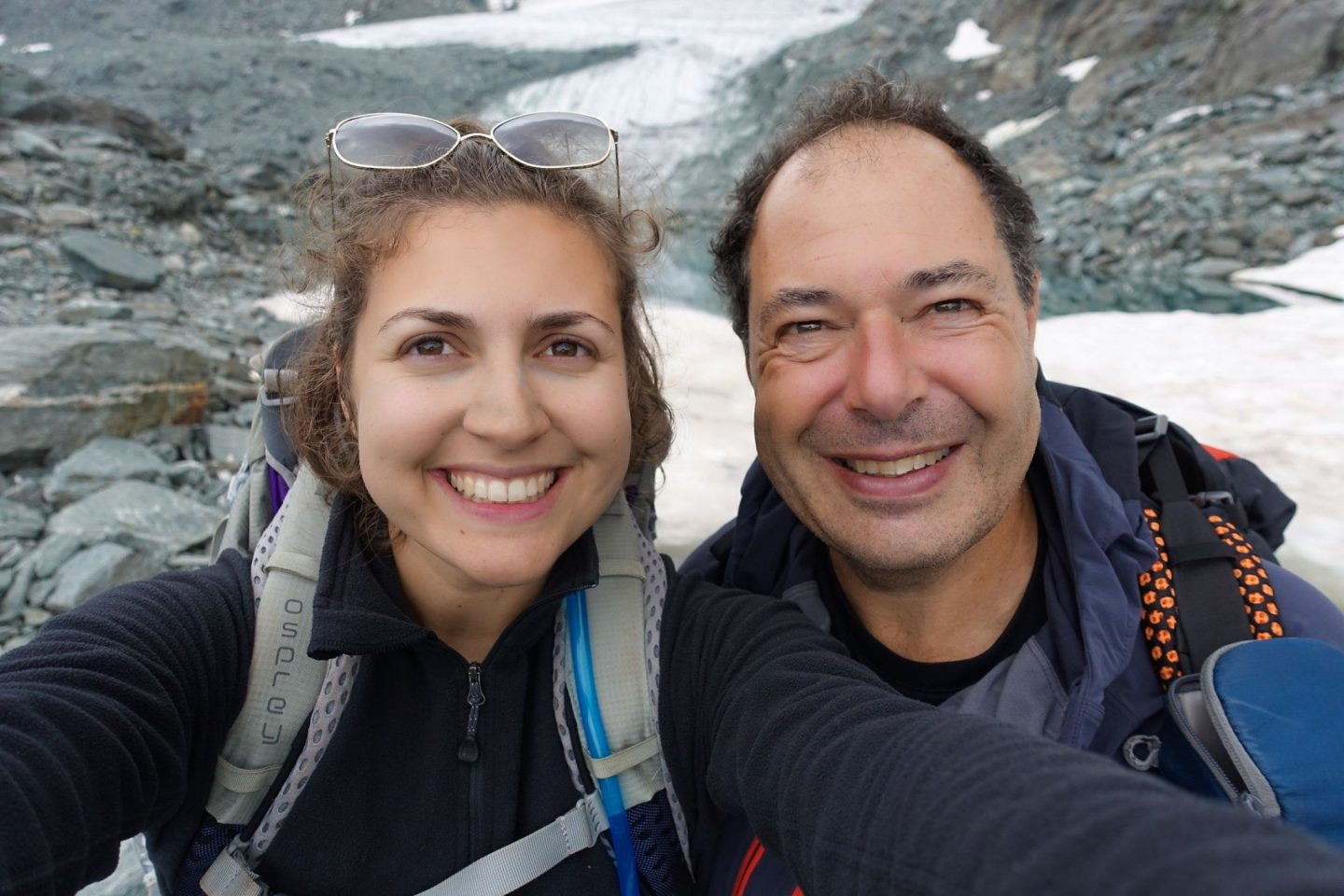 dad and daughter selfie on the mont blanc to matterhorn trek