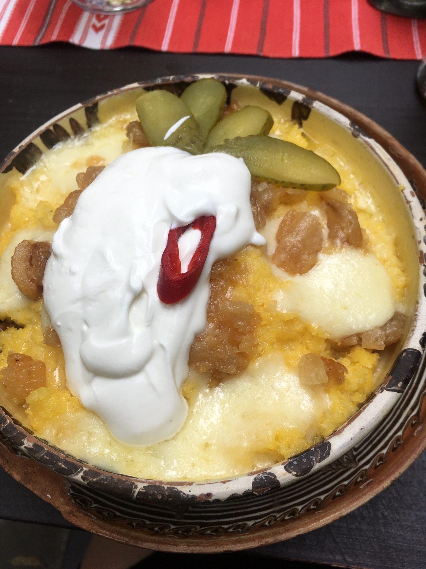 Traditional polenta dish in Cluj-Napoca
