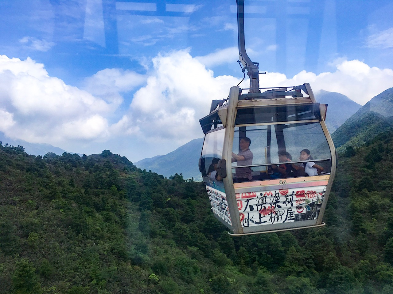 Ngong cable car in Hong Kong, part of our planned itinerary