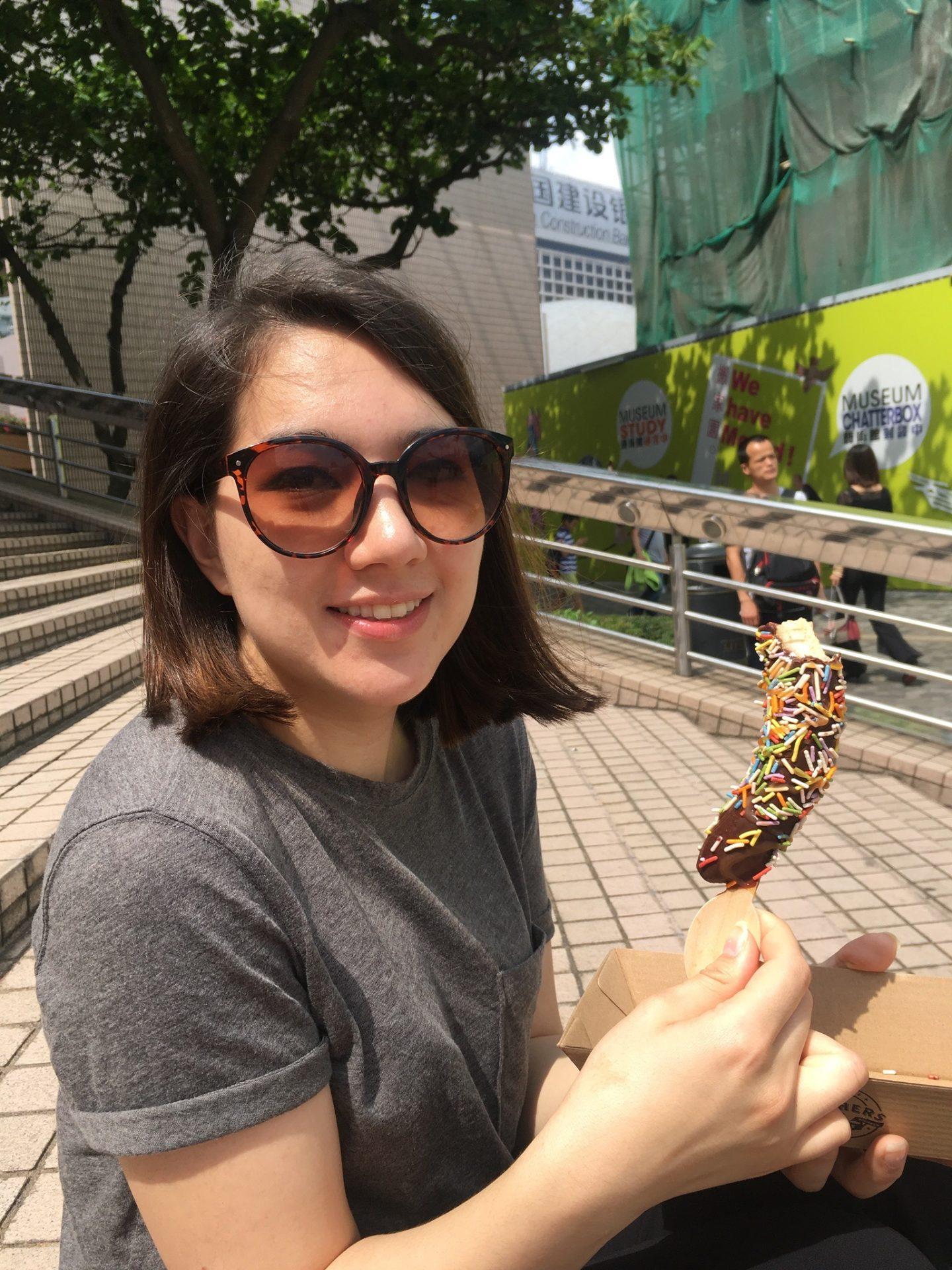 Chocolate covered frozen banana in Hong Kong