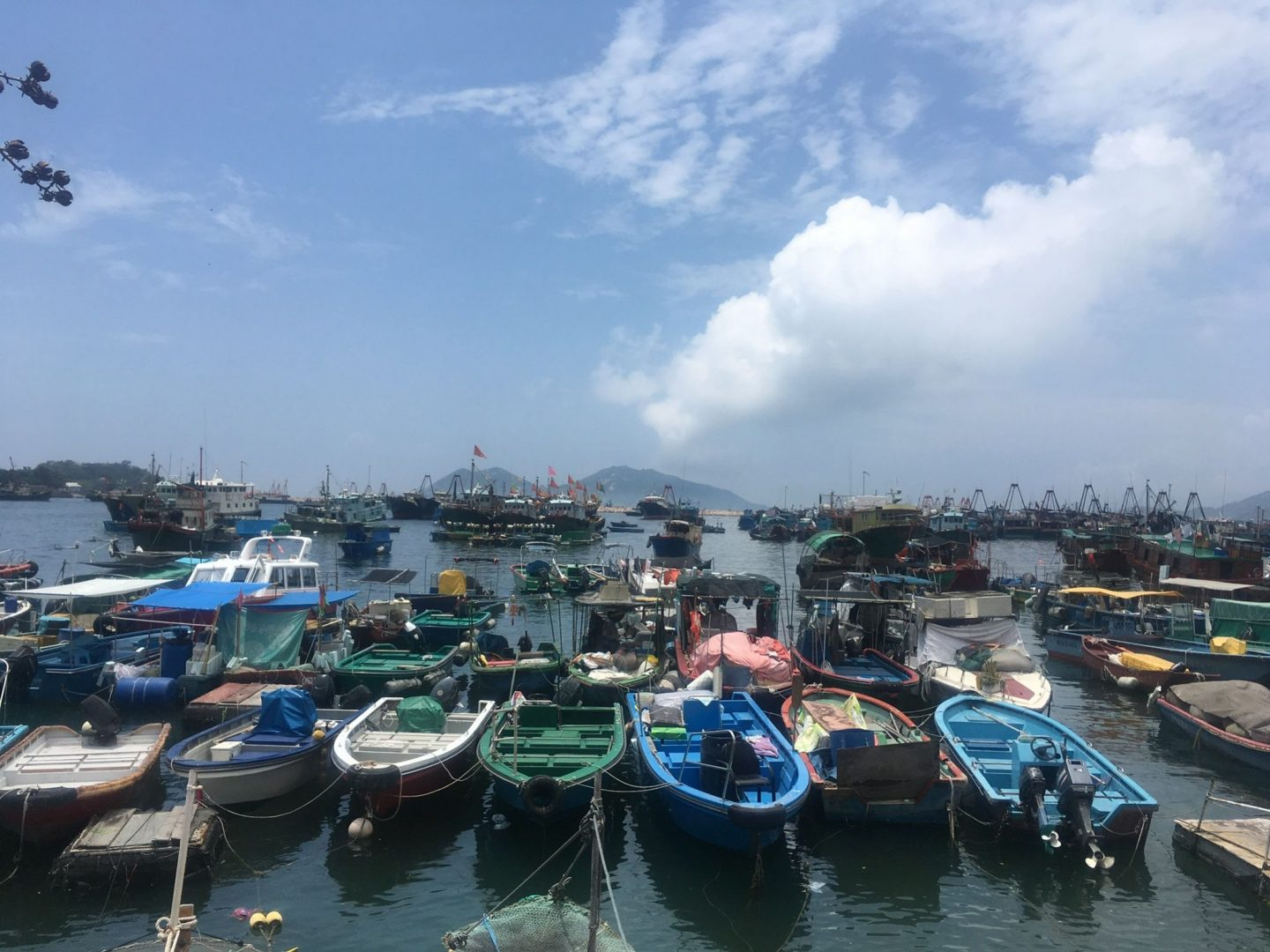 Things to do in Hong Kong: Cheung Chau island showing a shot full of fishing boards on the coast and blue sky