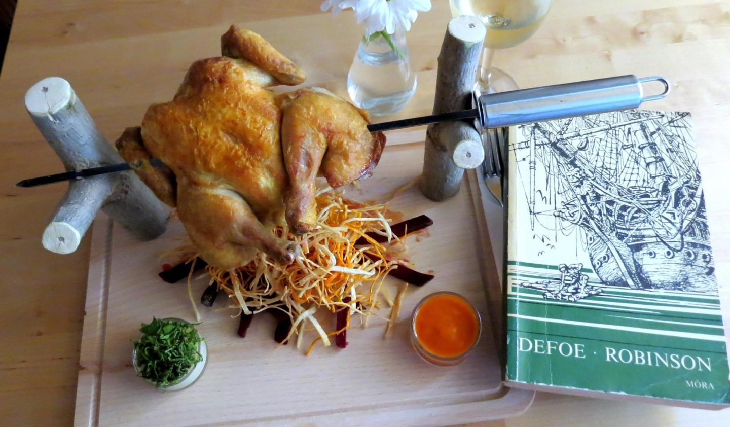 restaurants in budapest, chicken on a spit with shoestring fries