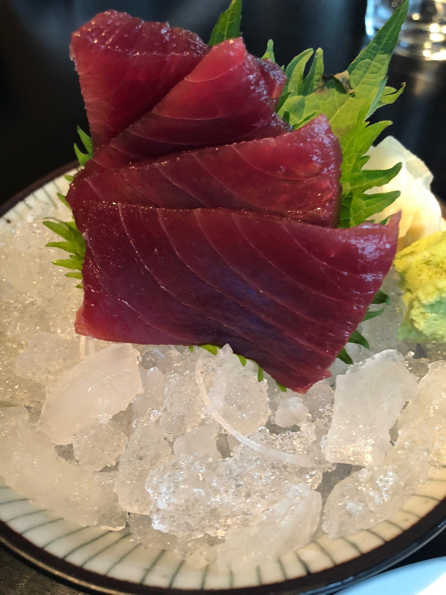 A beautiful plate of tuna sashimi on ice served at Issho in Leeds