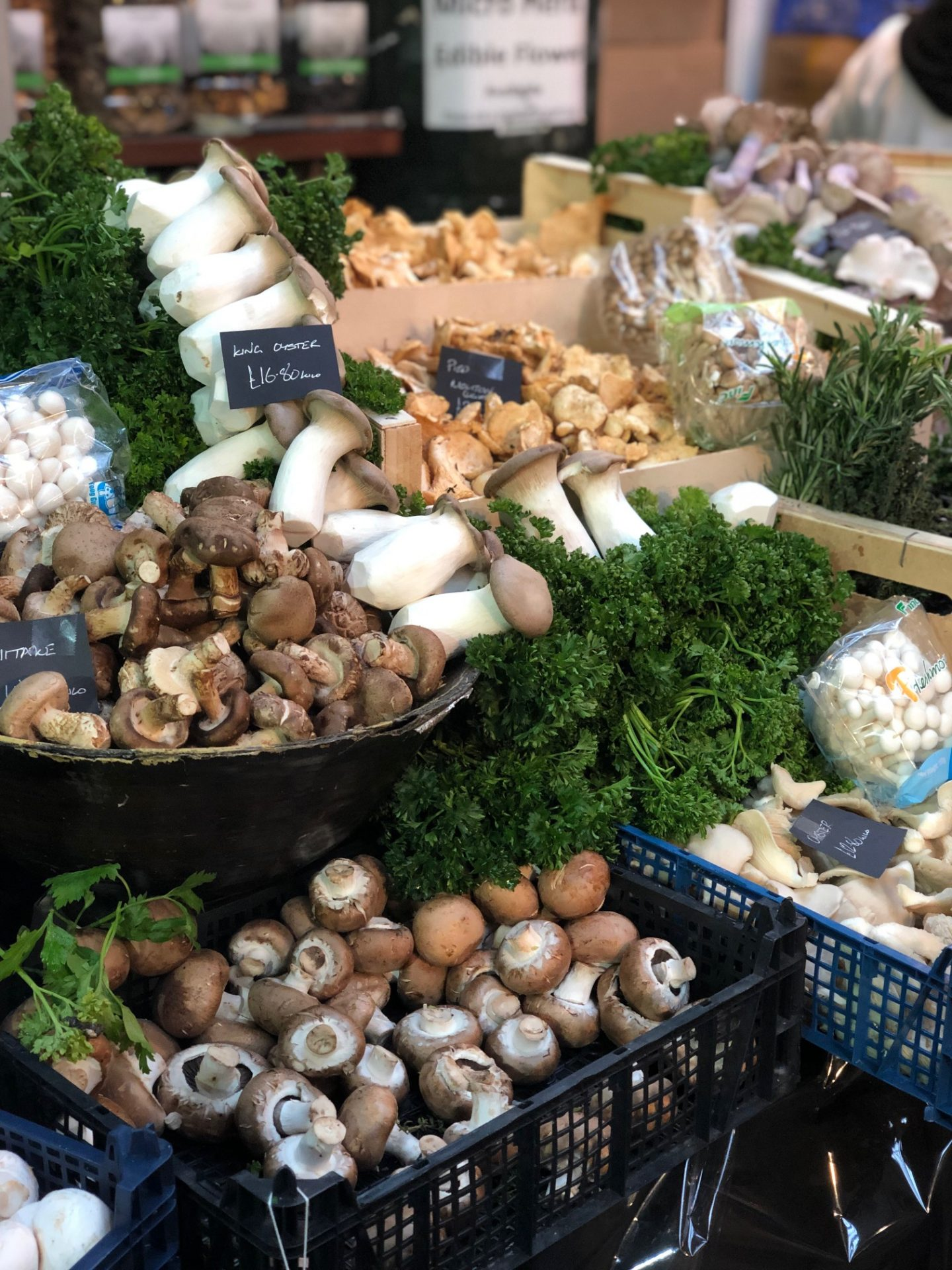 A shot of a mushroom stand in Borough Market during a day out in London