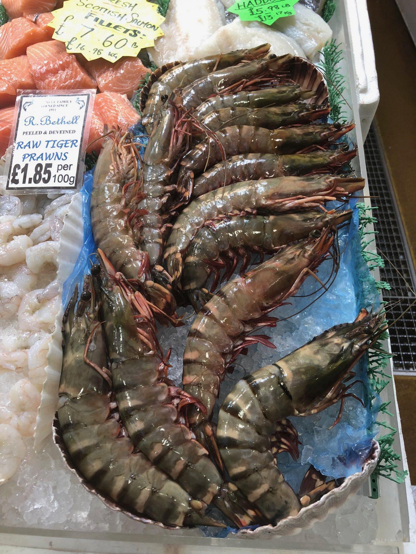 giant prawns at Leeds Kirkgate Market