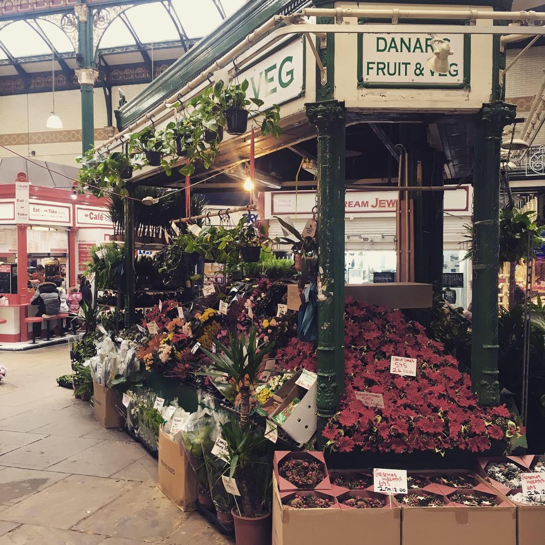 A shot of one of the flower stalls inside Leeds Kirkgate market