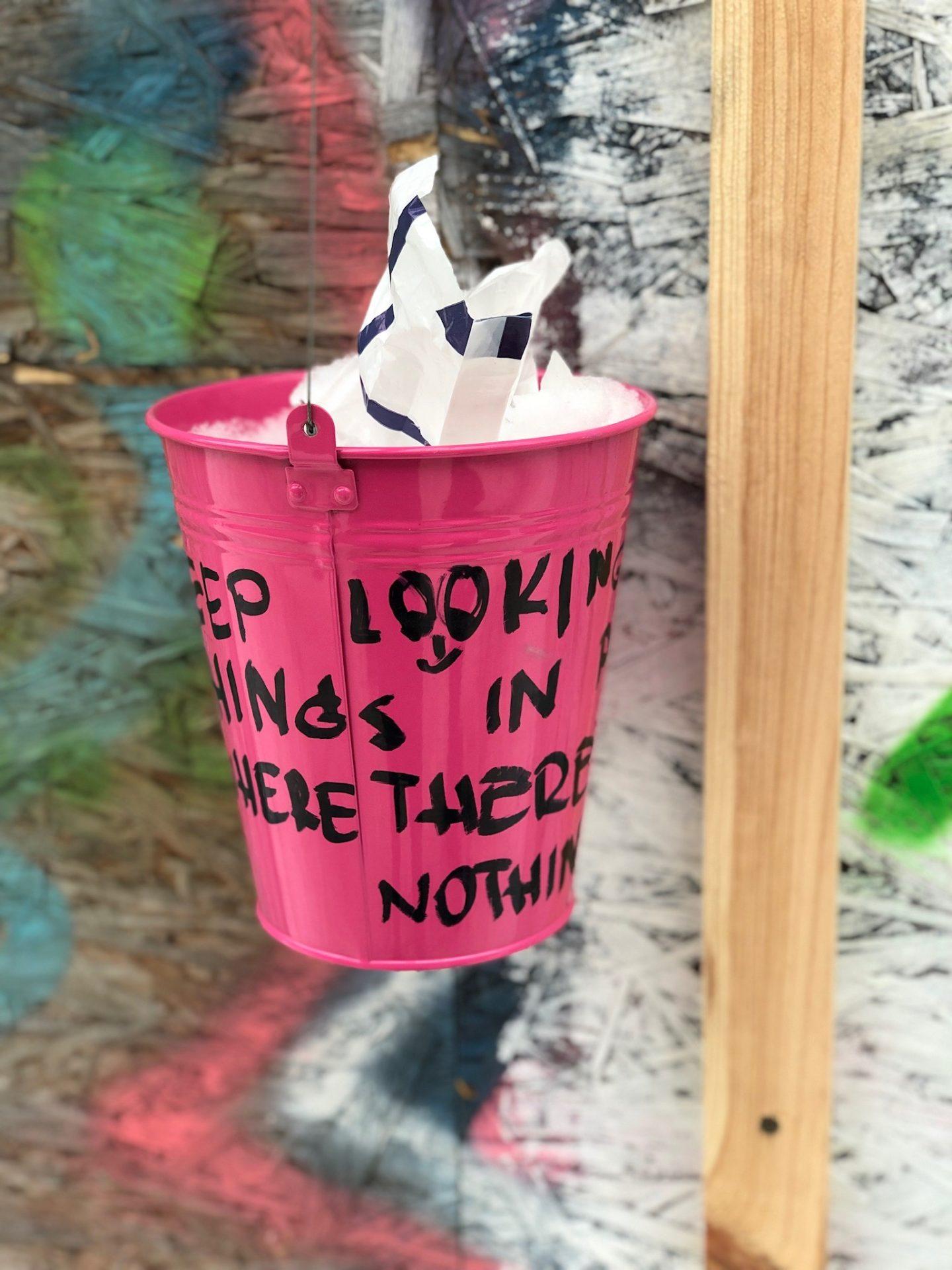 A pink bucket, part of an art installation in Uzepius, Vilnius