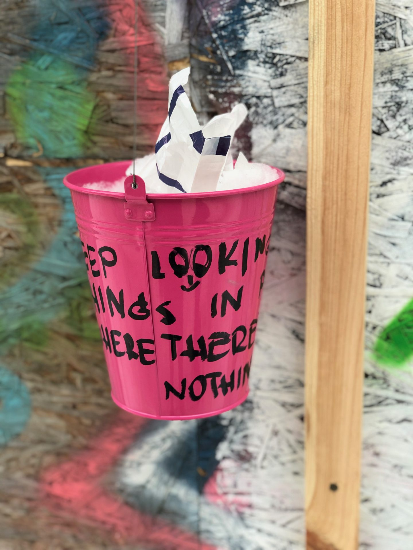 things to do in vilnius in winter: A pink bucket, part of an art installation in Uzepius