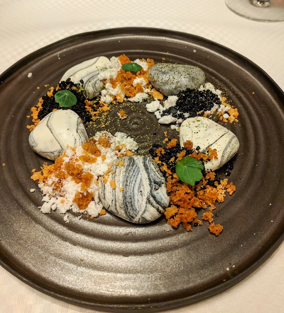 Plate of goats cheese pebbles at Baracca in Cluj Napoca