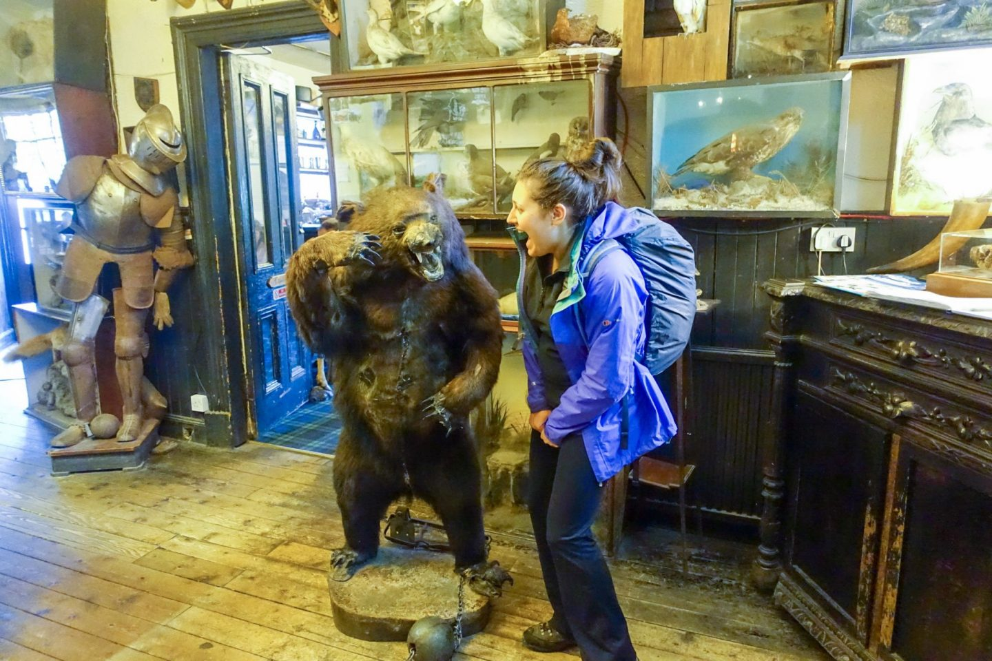 Nell in the Drovers Inn, posing next to a stuffed bear pretending to look scared, walking the West Highland Way