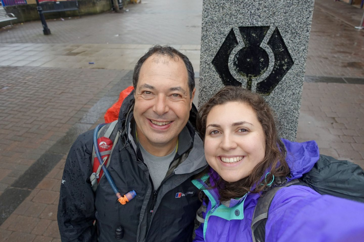 Dad and daughter at the start of the West Highland Way