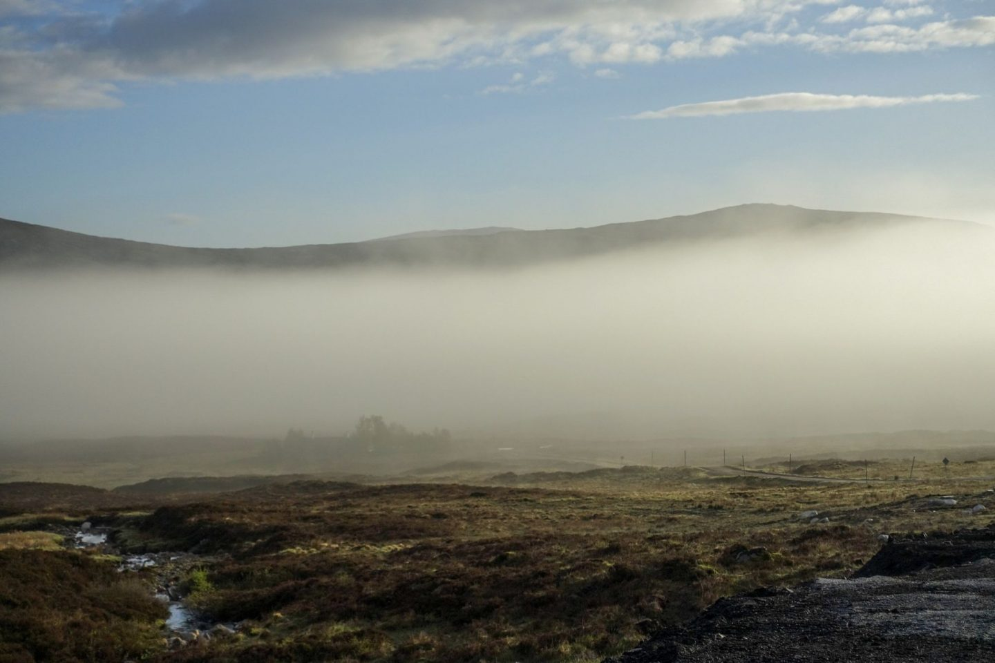 Morning mist over the Scottish Highlands at Glencoe Mountain Resort