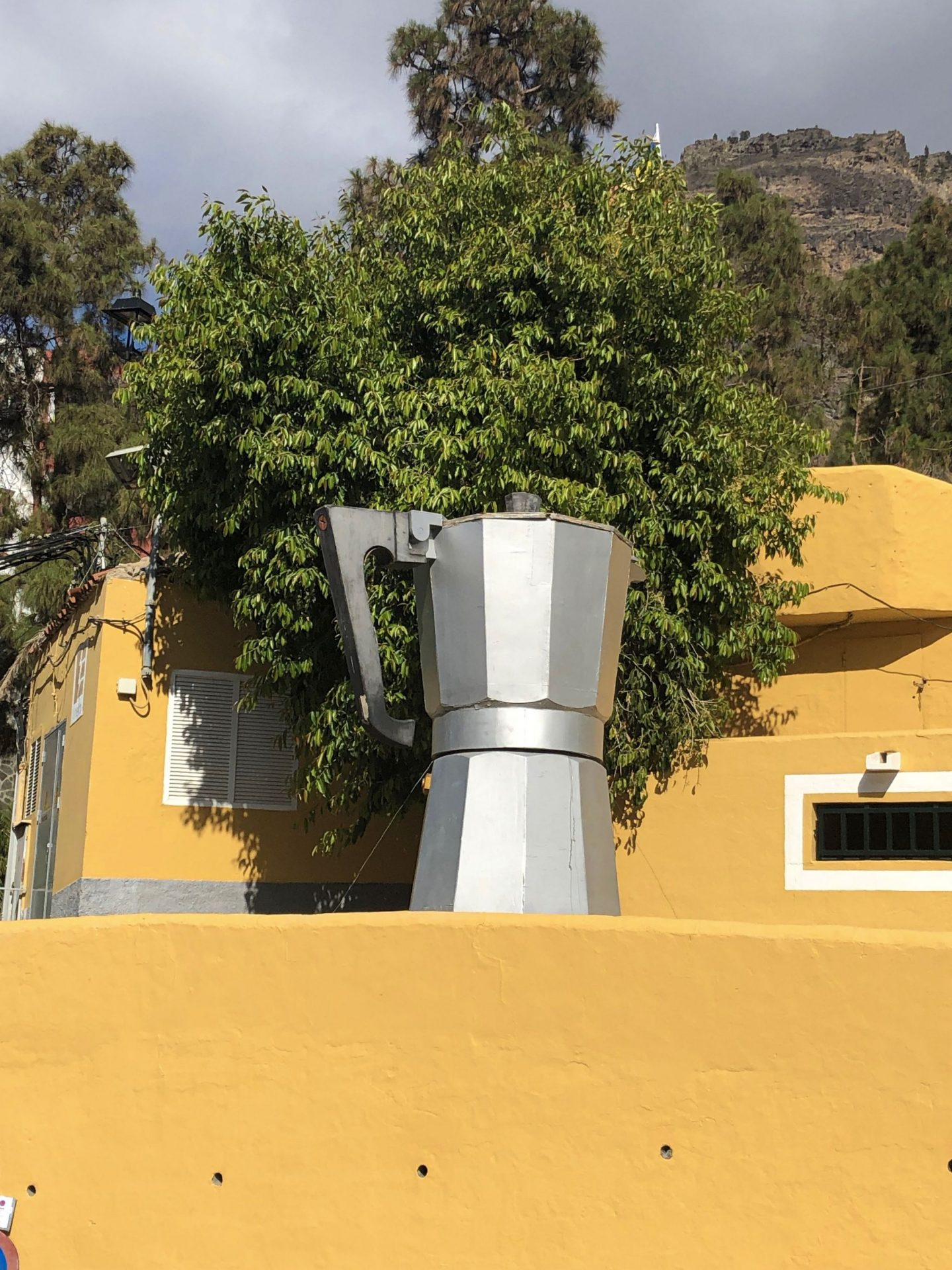 A giant coffee pot on the side of the road in Gran Canaria, Mogan