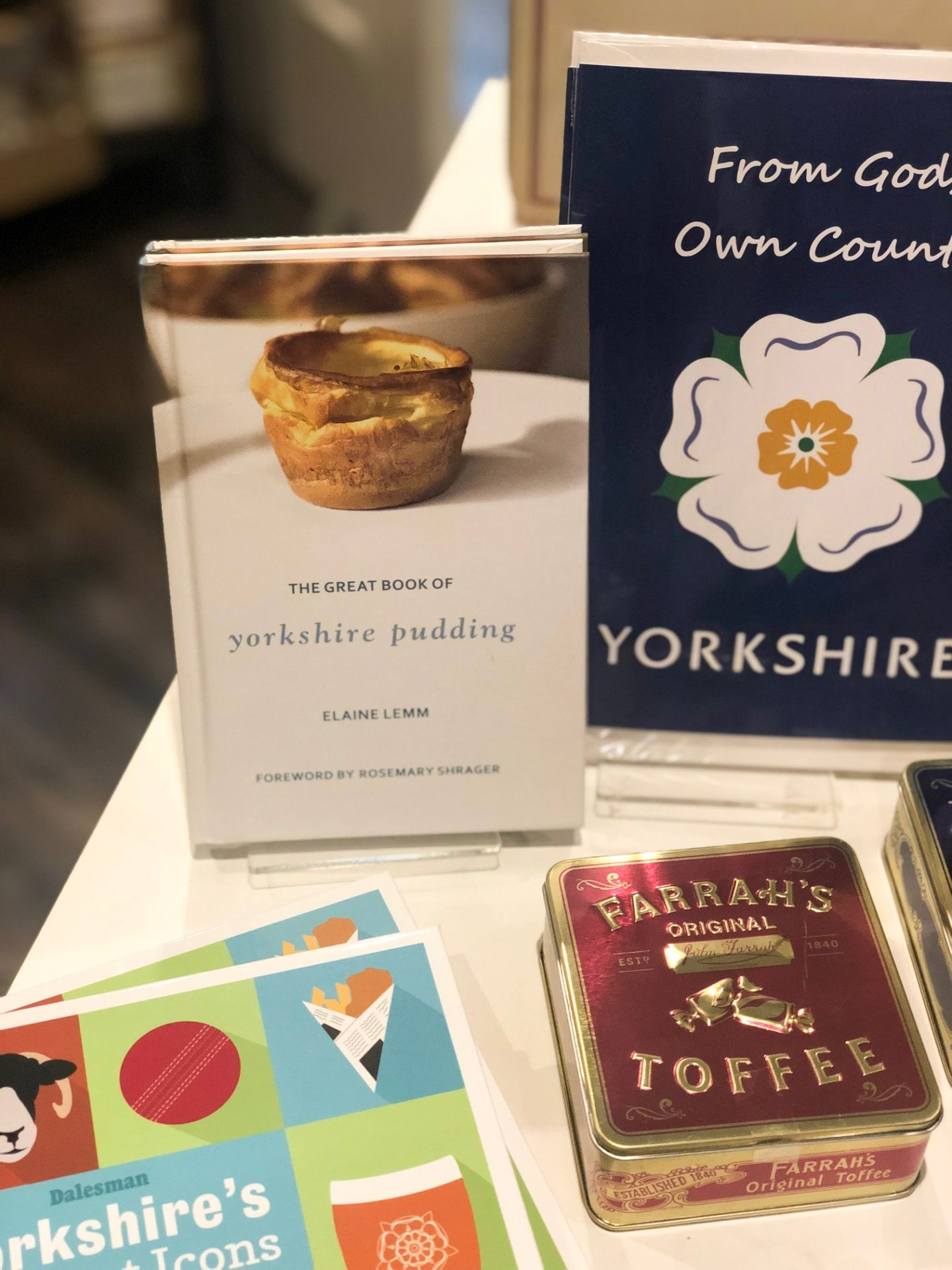 book about yorkshire pudding  at independent business in Leeds corn exchange