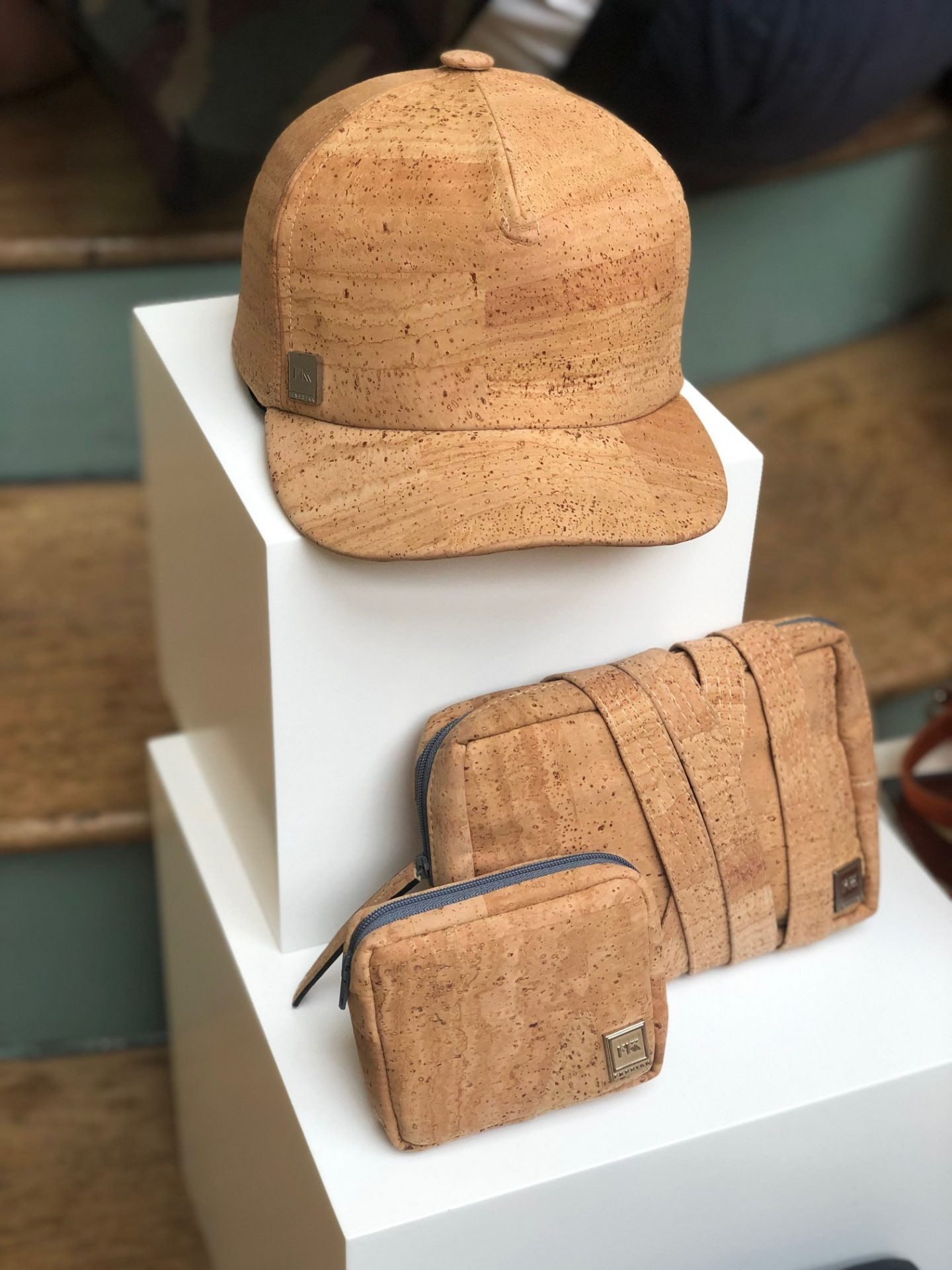 Display of hat, bag and purse made from vegan cork