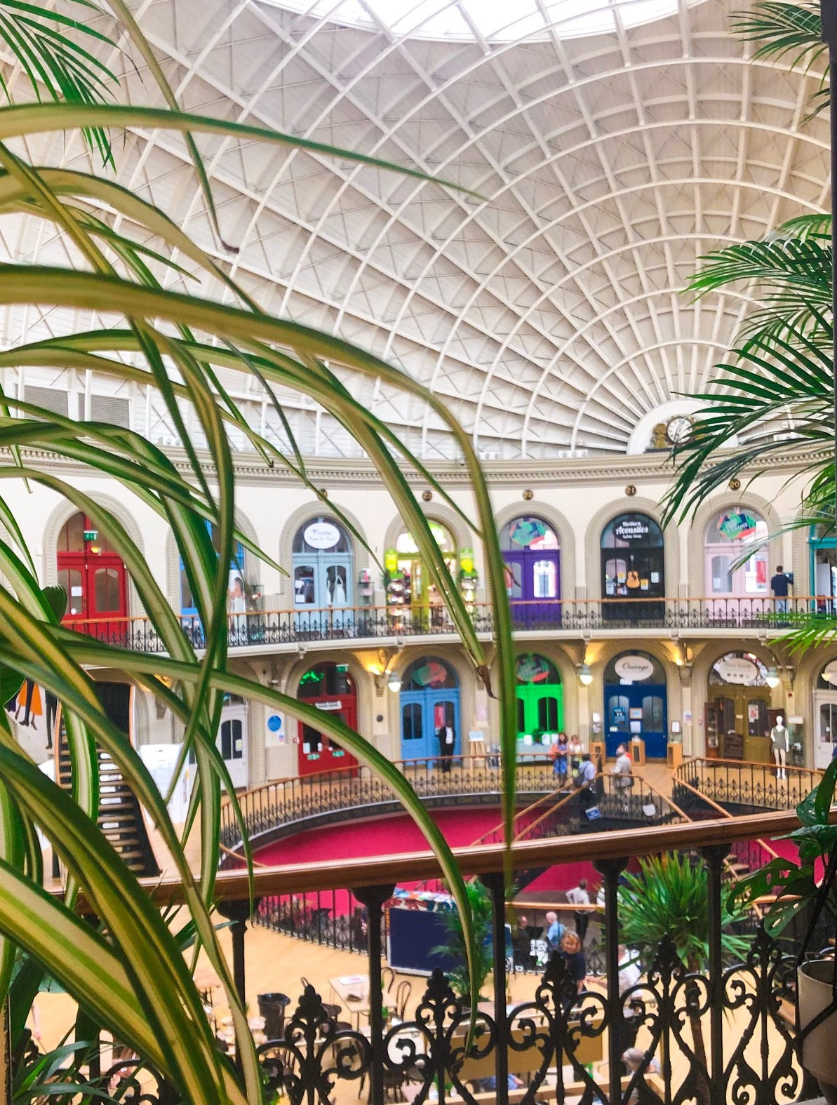 Leeds Corn Exchange With Plants in Foreground supporting Independent Businesses in Leeds Corn Exchange