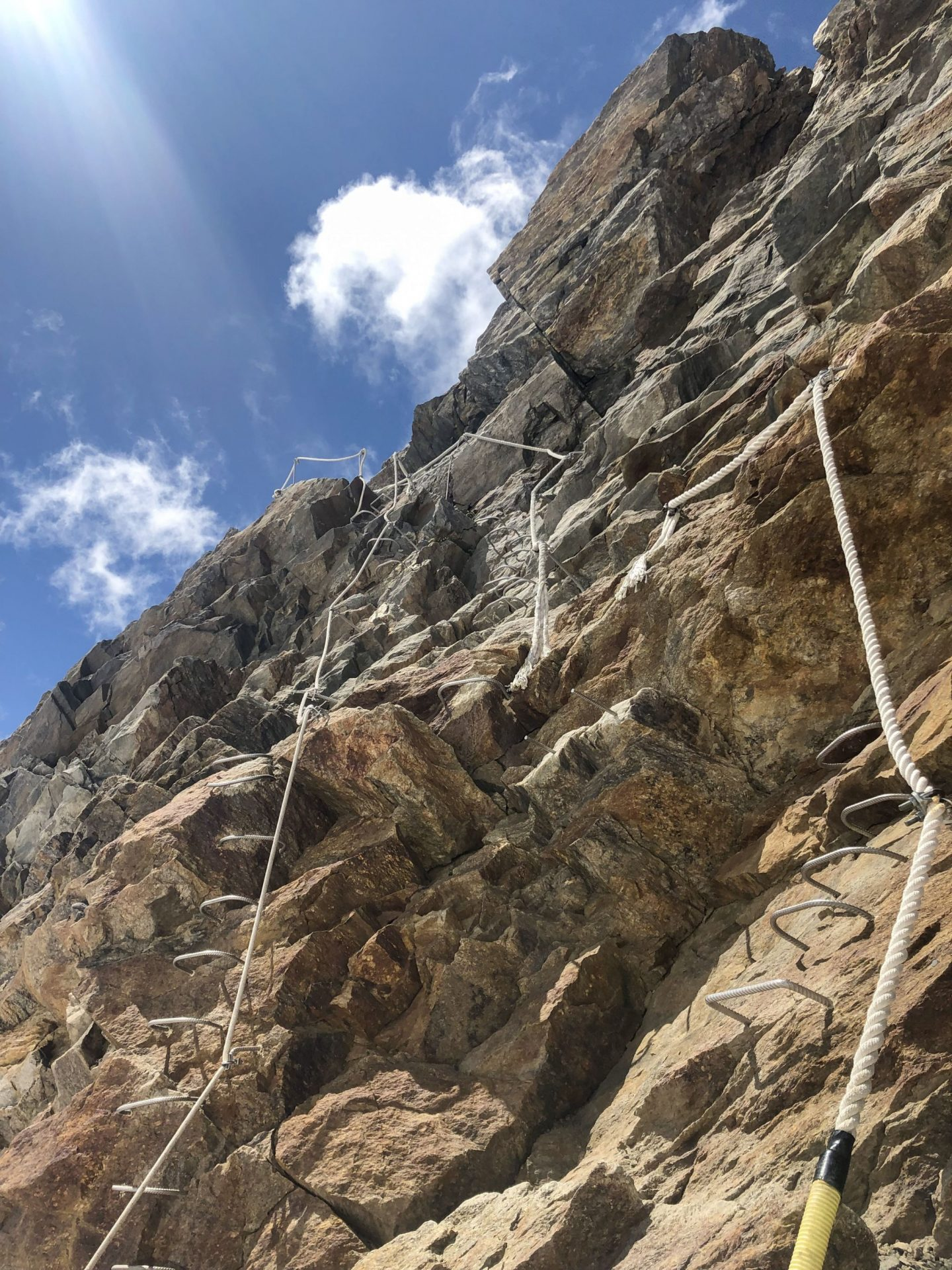 Ropes and ladders on the approach to the Gnifetti mountain hut