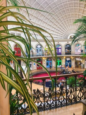shopping in leeds corn exchange - the interior of the building as seen from the plant point shop, framed with green leaves