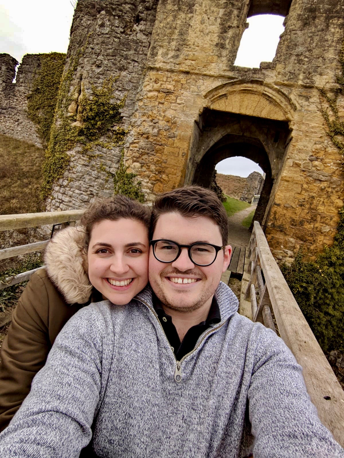 Things to do in Helmsley North Yorkshire: A selfie of Nell and her boyfriend in the grounds of Helmsley Castle