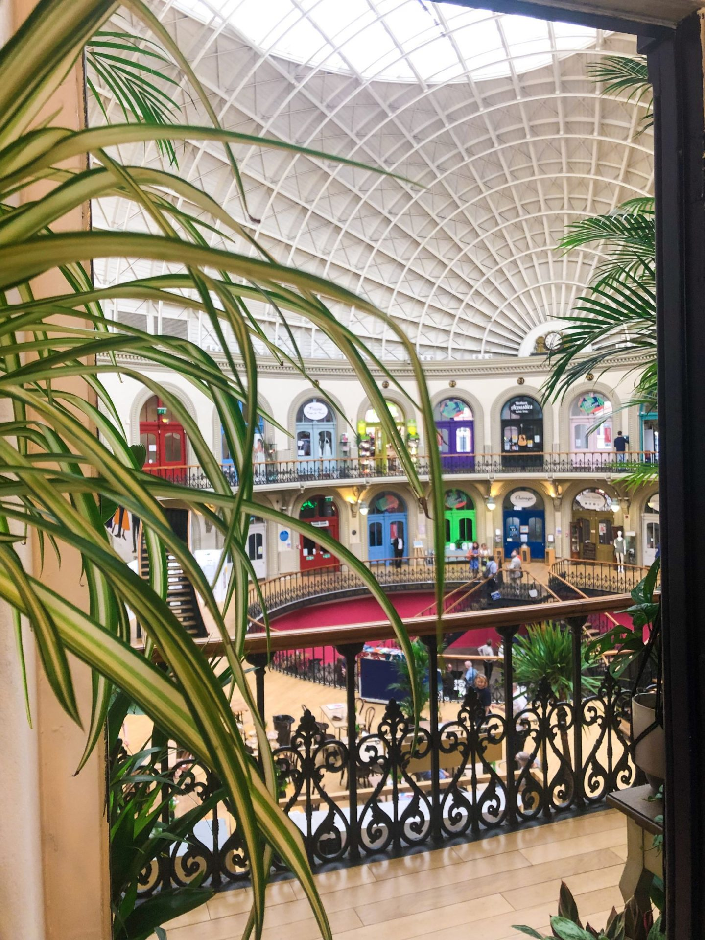 things to do in leeds city centre - inside the corn exchange taken from one of the shops on the balcony level