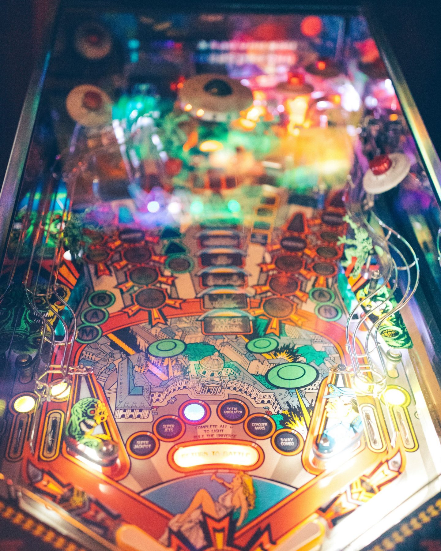 things to do in Leeds city centre - retro arcade came close up of pinball