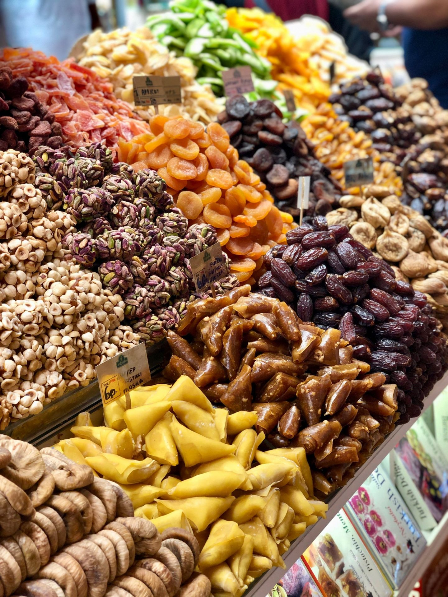 Dried fruits in the spice market in Istanbul