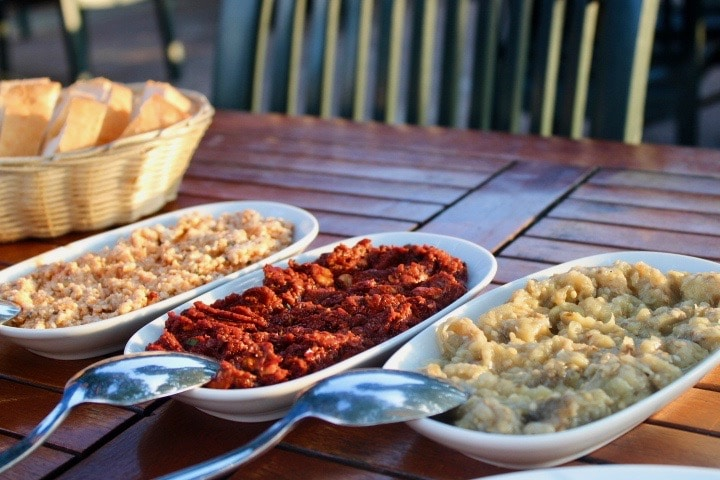 Turkish food in Istanbul: three mezze plates