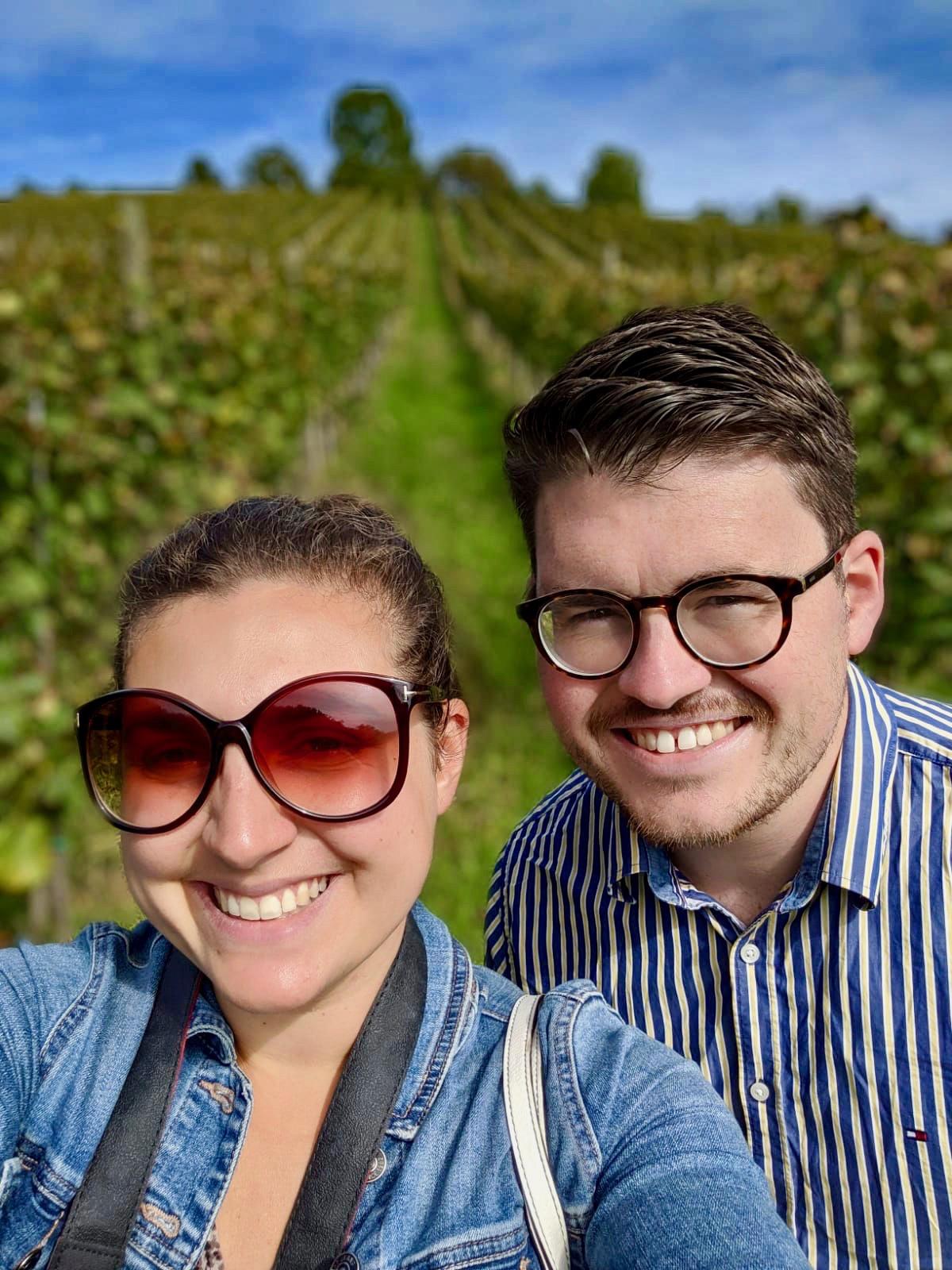 Selfie of couple in Vineyard at Chateau Ramsak in slovenia