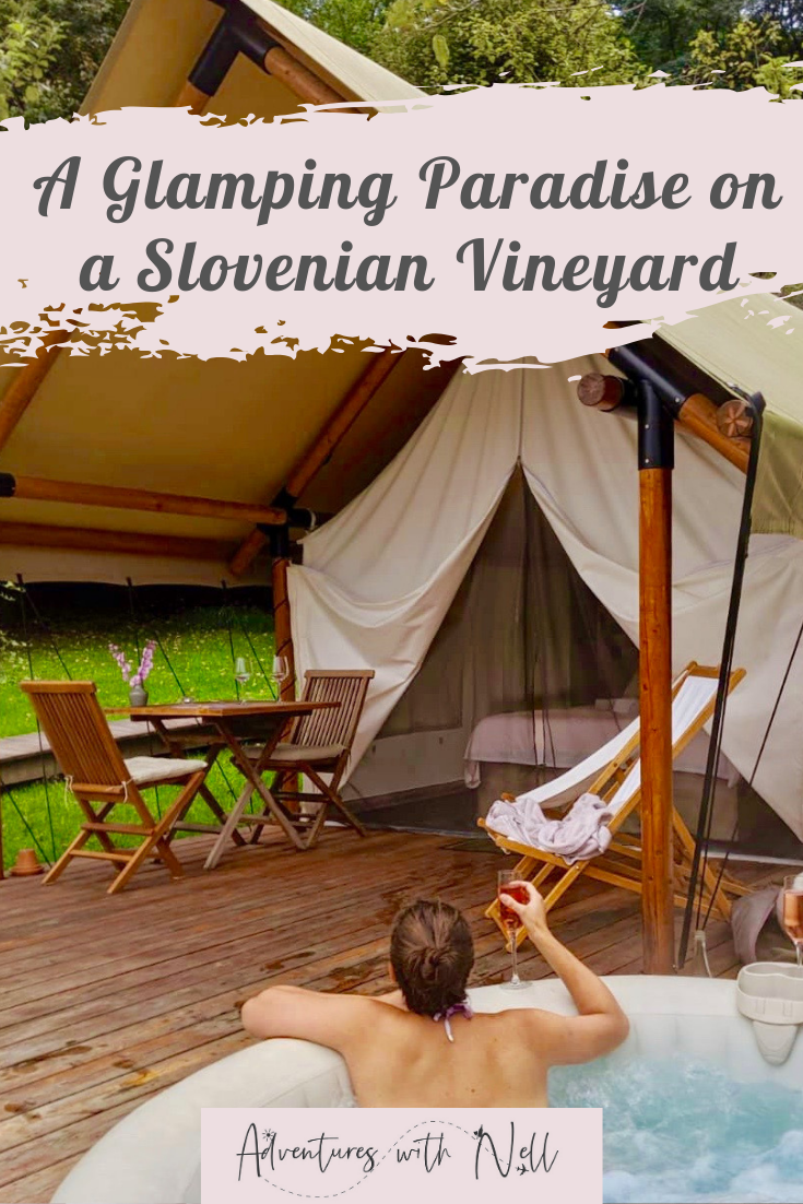 Pinterest graphic for glamping slovenia