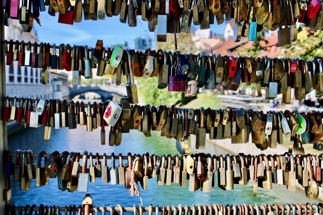 Padlocks on a bridge in Ljubljana, walked past when spending 24 hours in the city