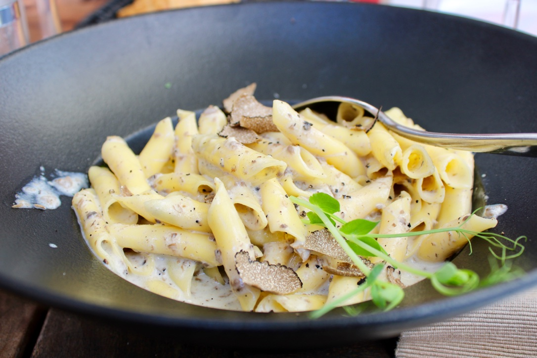 Istrian pasta dish with creamy truffles eaten during a food tour in Ljubljana