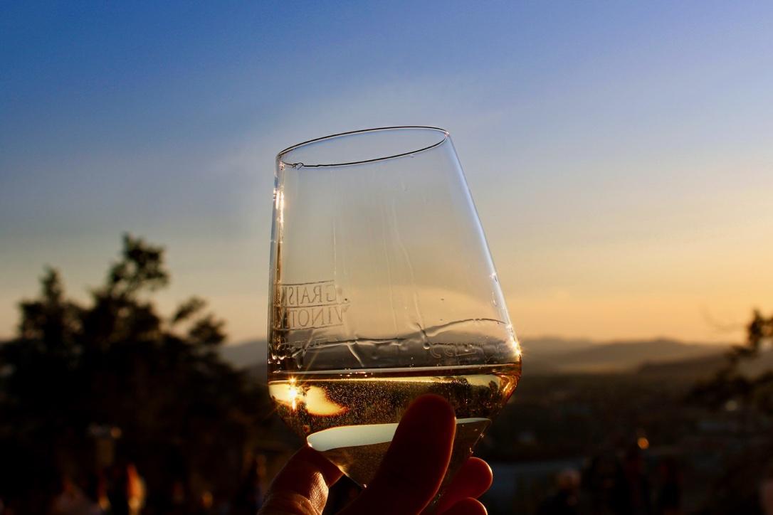 Sunset over Ljubljana from Strelec wine bar terrace