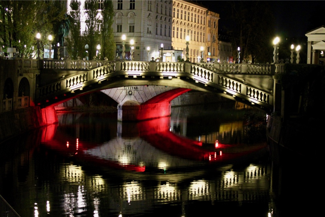 Night shot at the end of 24 hours in Ljubljana