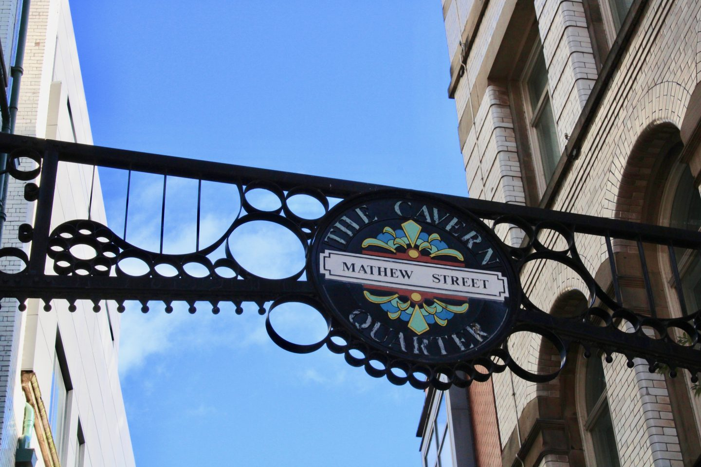 Best things to do in Liverpool: a sign saying Matthew Street, with a clear blue sky behind