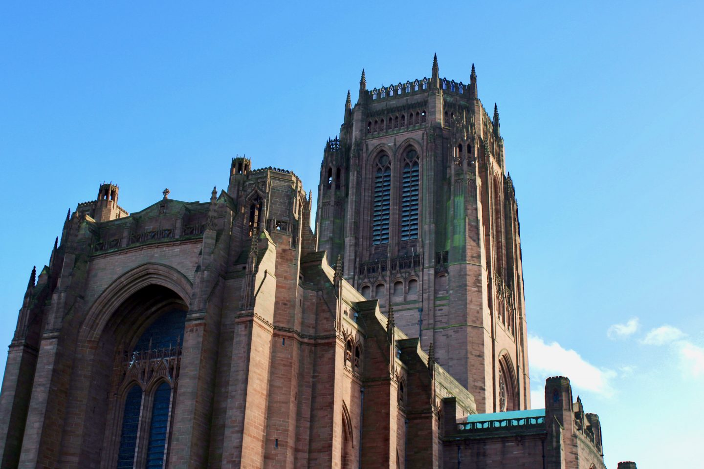 Best things to do in Liverpool: looking up at the cathedral