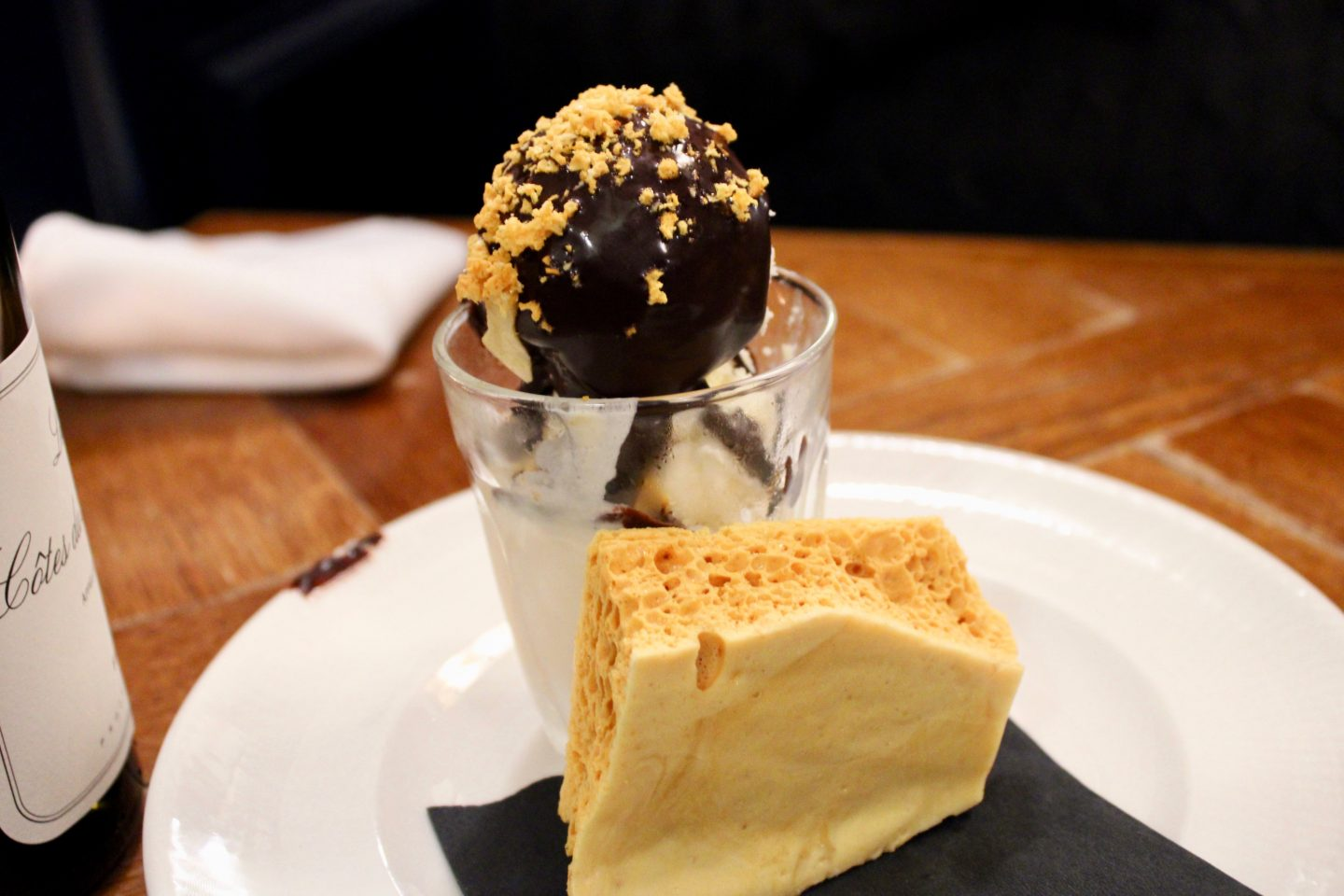 best things to do in Liverpool: dessert of ice cream and honeycomb on a white plate