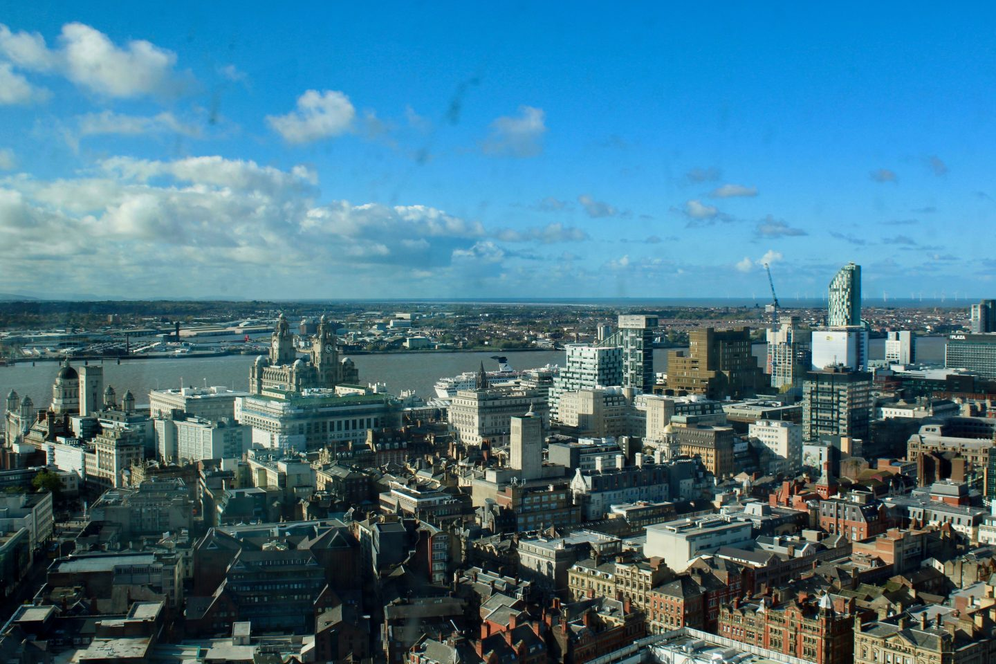 Best things to do in Liverpool: a view of the city from the radio tower, on a sunny day