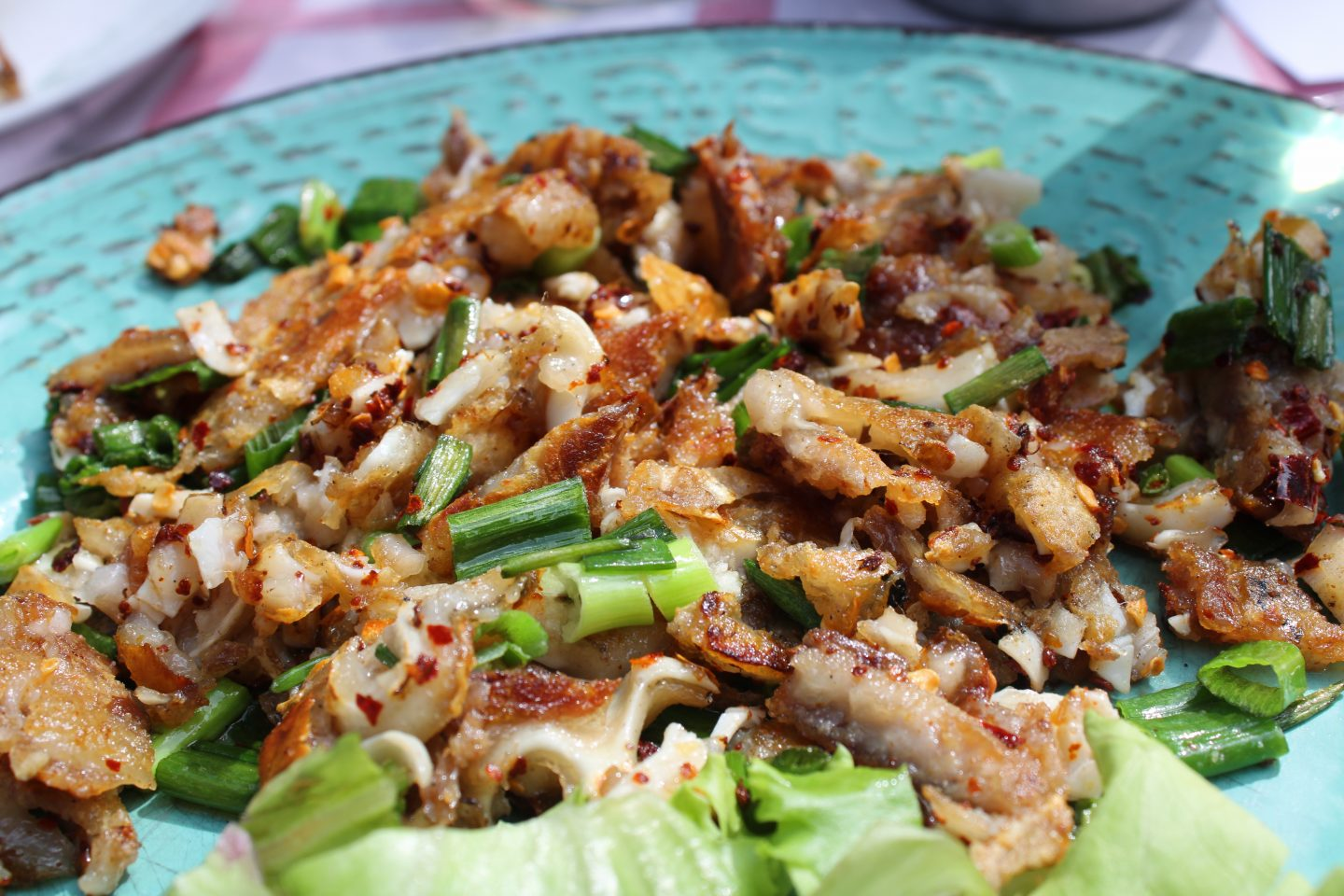 sofia city break: a close up of crispy pigs ears with spring onion