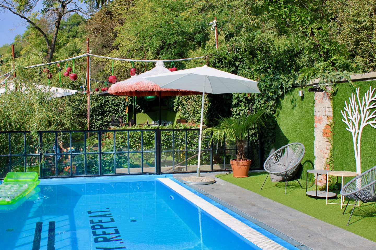 swanky mint hostel zagreb review: the swimming pool at Swanky Mint Hostel