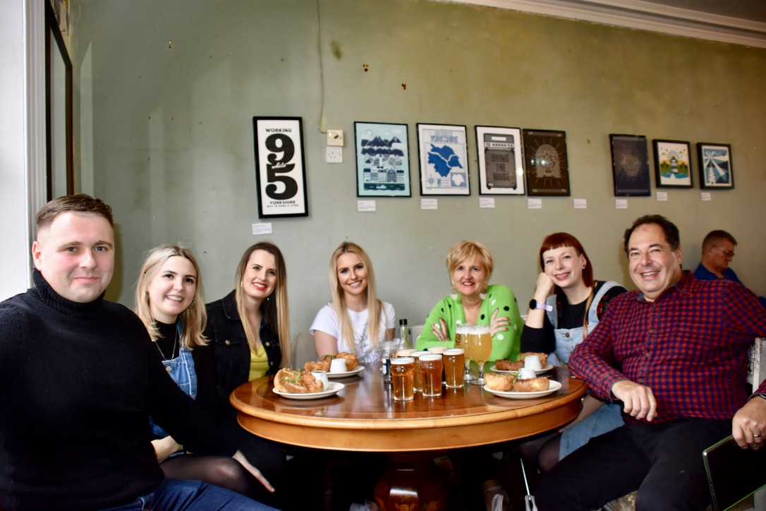 leeds food tours group with Yorkshire puddings and beers