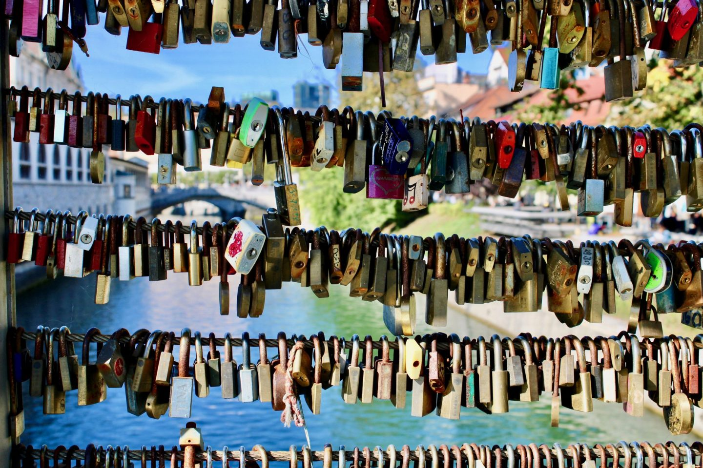 24 hours in Ljubljana food & wine: colourful padlocks on a bridge