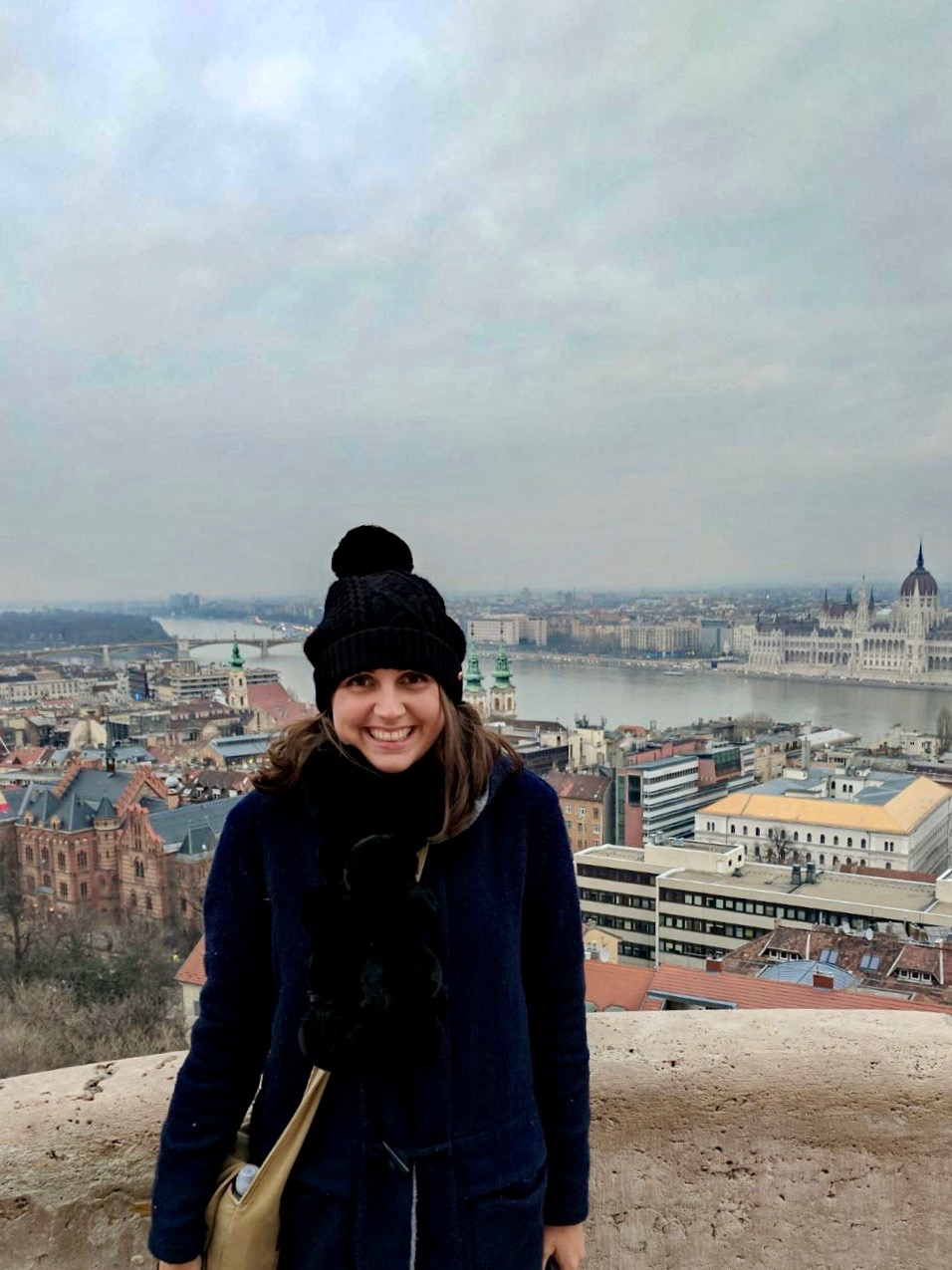 Nell at Fisherman's Bastion with views of Budapest in the background - things to do in Budapest
