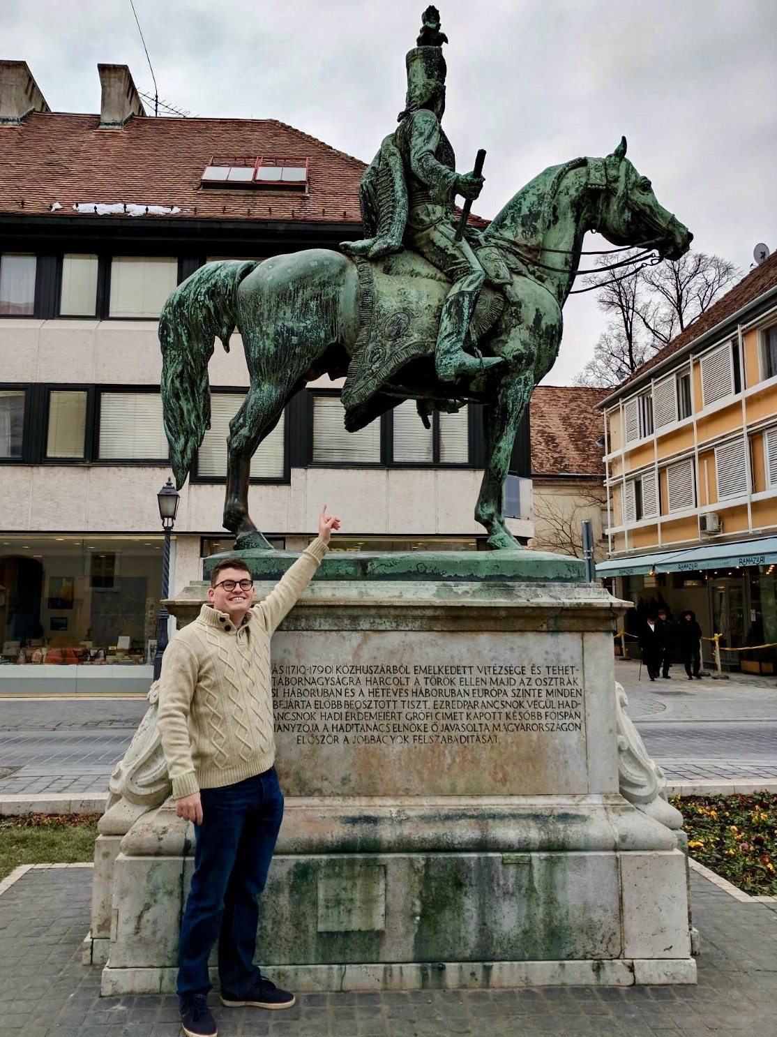 Billy pointing at Andras Hadrik statue - rubbing the horse's balls is one of the things to do in Budapest