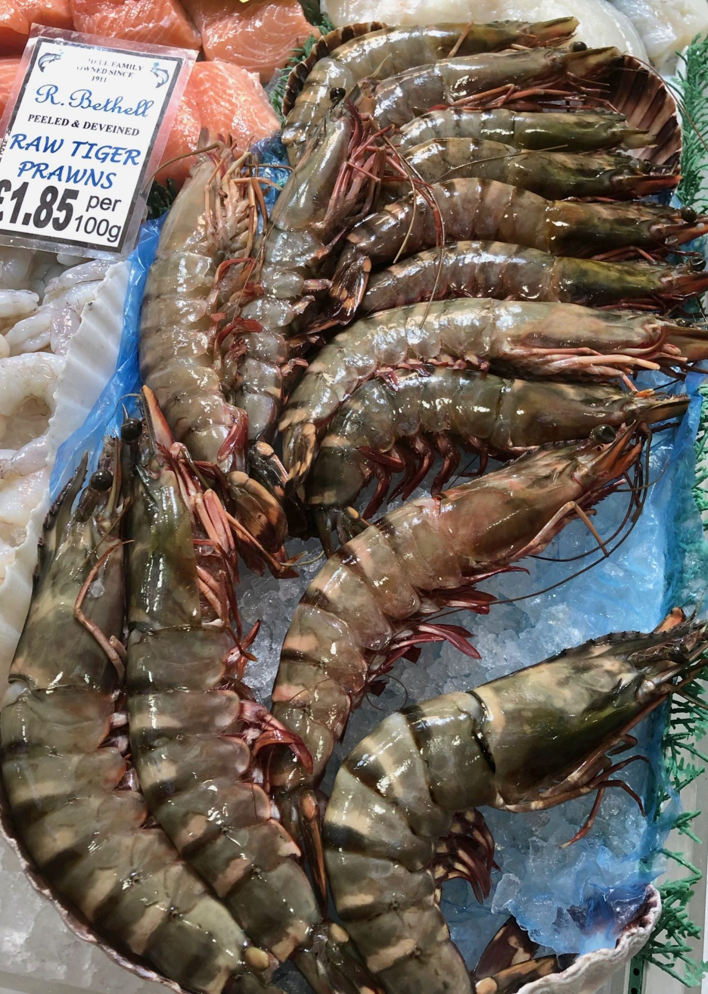 A close up of raw tiger prawns at R Bethell in Leeds Kirkgate Market