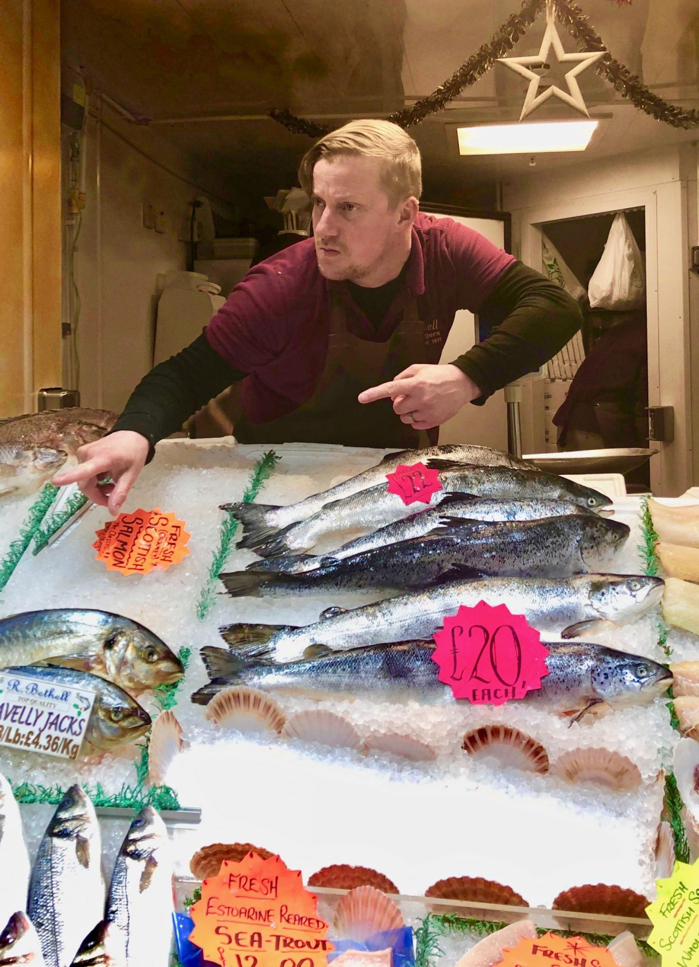 Fishmonger posing at Leeds Kirkgate Market