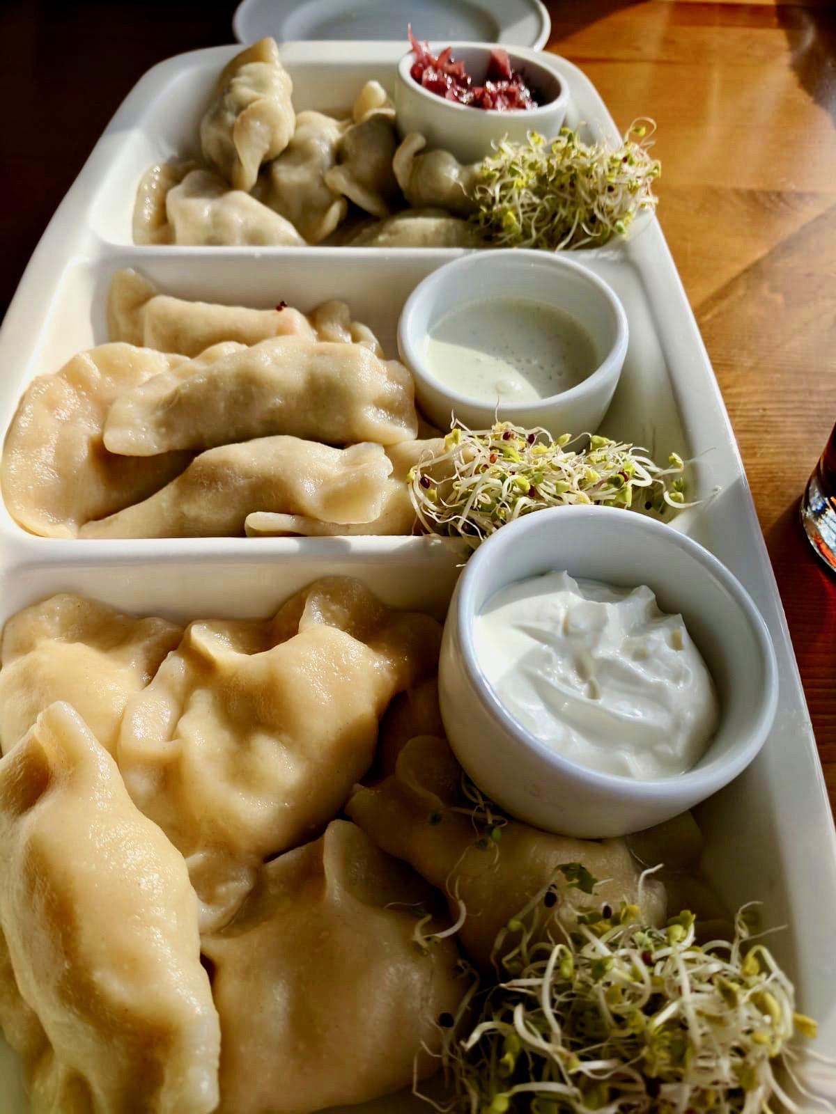 A platter of pierogies eaten in Gdansk in eastern europe
