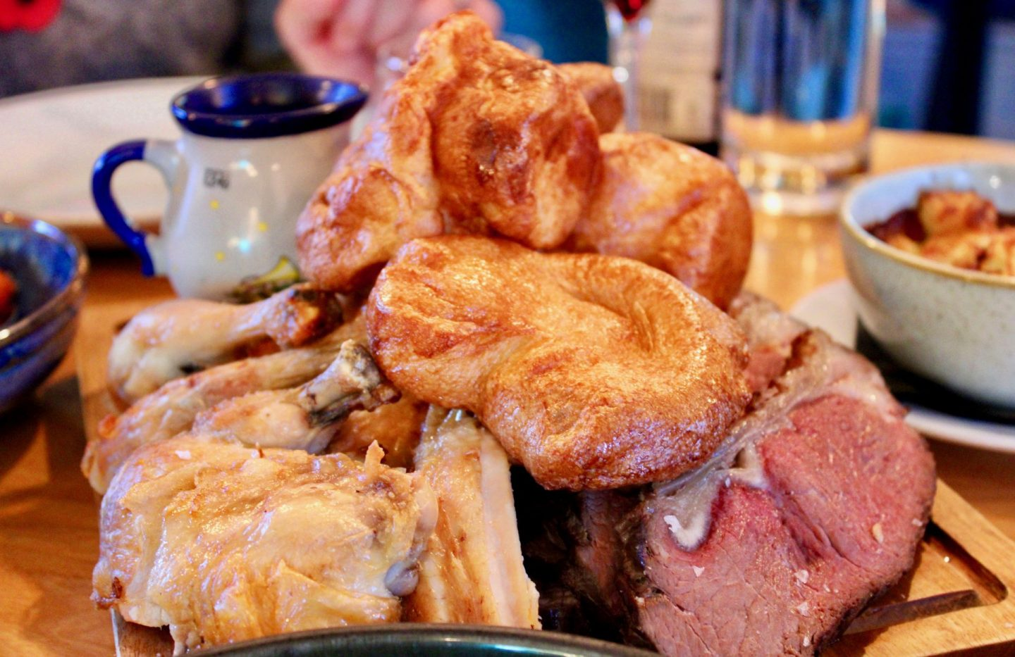 Sirloin of beef, roast chicken and Yorkshire puddings stacked up on a sharing platter at the Foundry, one of the best restaurants in Leeds
