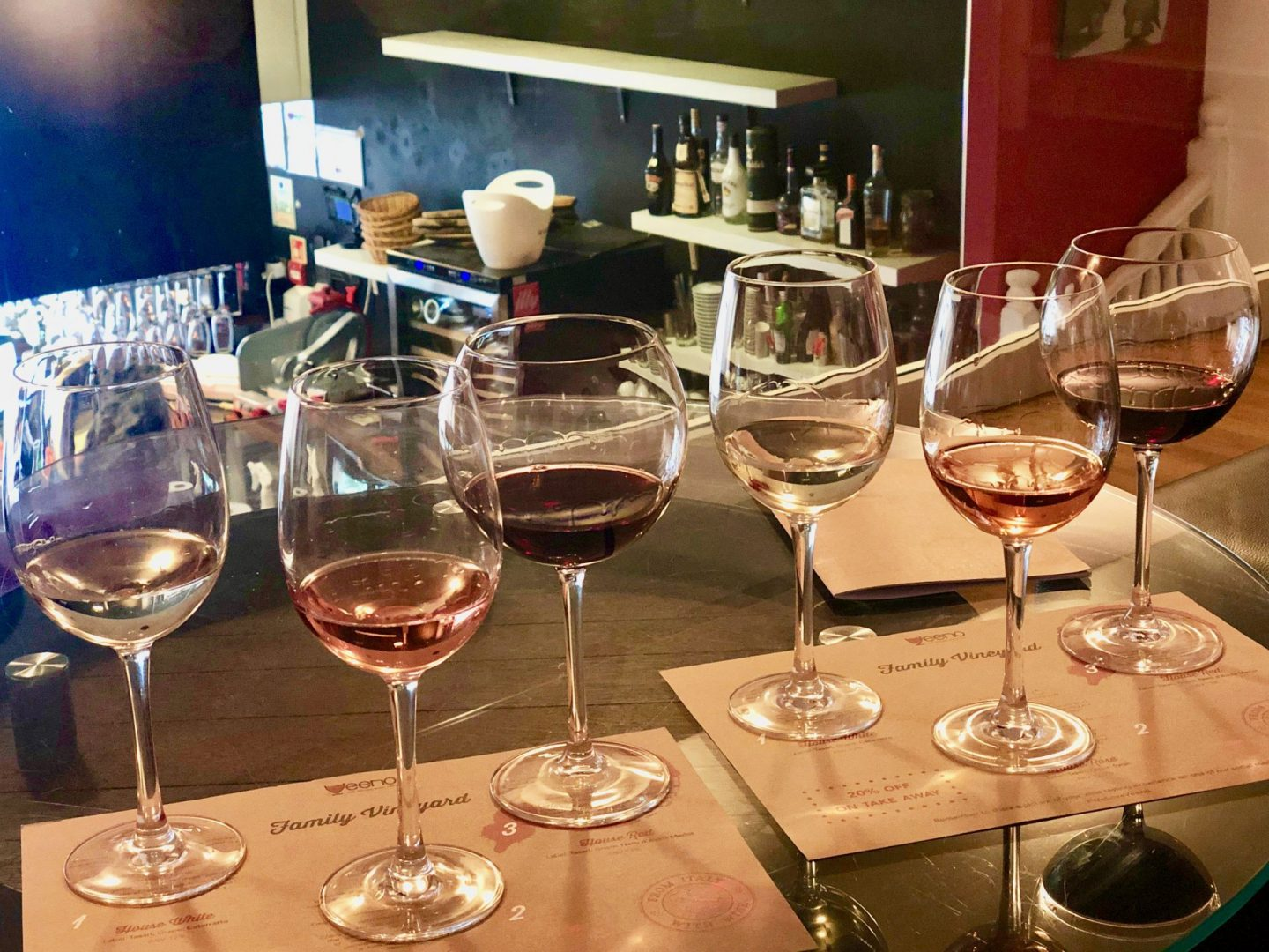 6 glasses of wine lined up reading for a wine tasting in Veeno, Leeds city centre