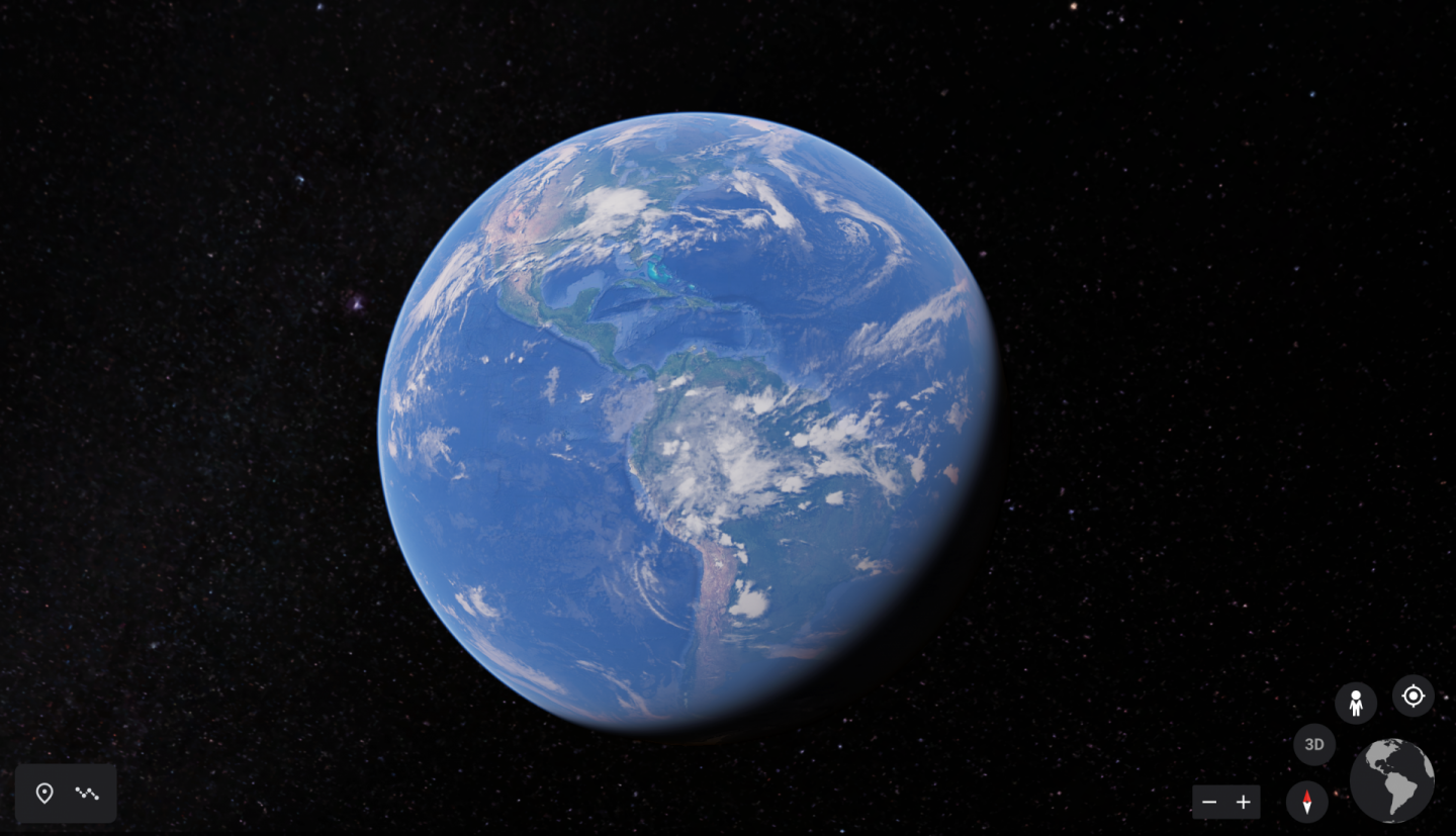 virtual travel experiences - a screenshot of Google Earth showing the globe against a black background
